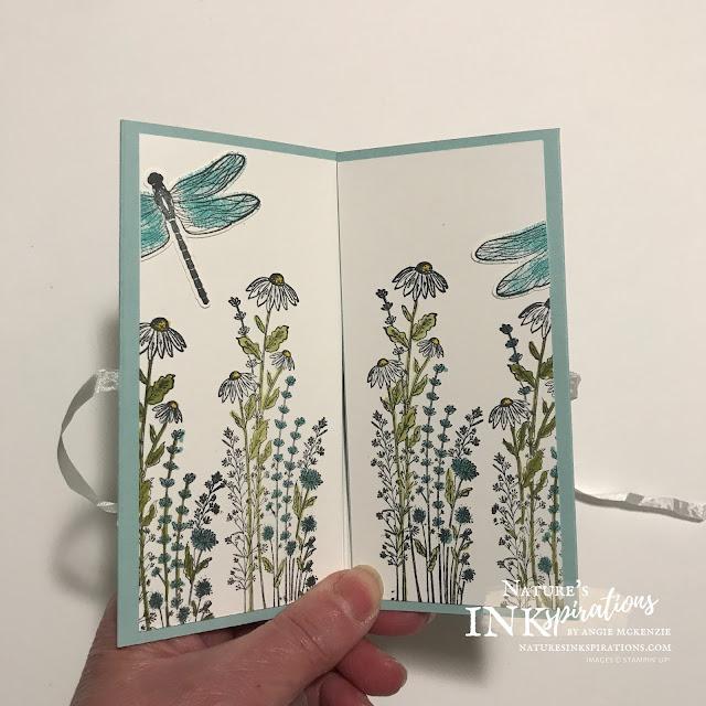 By Angie McKenzie for Casually Crafting Design Team Blog Hop; Click READ or VISIT to go to my blog for details! Featuring the Dragonfly Garden Bundle and the Ice Cream Corner Designer Series Paper by Stampin' Up!® to create a special Mini Slim Double Fold card; #stampinup #cardtechniques #cardmaking #minislimdoublefold #dragonflygardenbundle #dragonflygardenstampset #dragonfliespunch #icecreamcornerdsp #crinkledseambindingribbon #coloringwithblends #naturesinkspirations #stampinupcolorcoordination #stampingtechniques #casuallycraftingdesignteambloghop