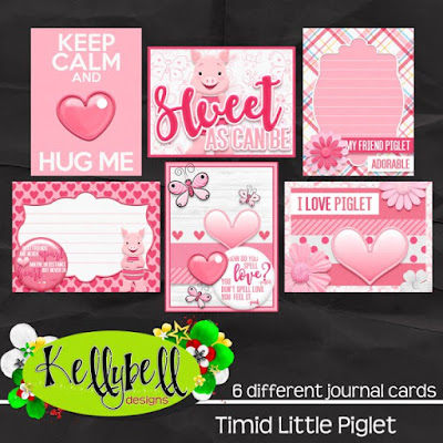 Timid Little Piglet Journal Cards