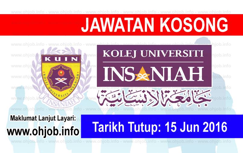 Jawatan Kerja Kosong Kolej Universiti Insaniah (KUIN) logo www.ohjob.info jun 2016