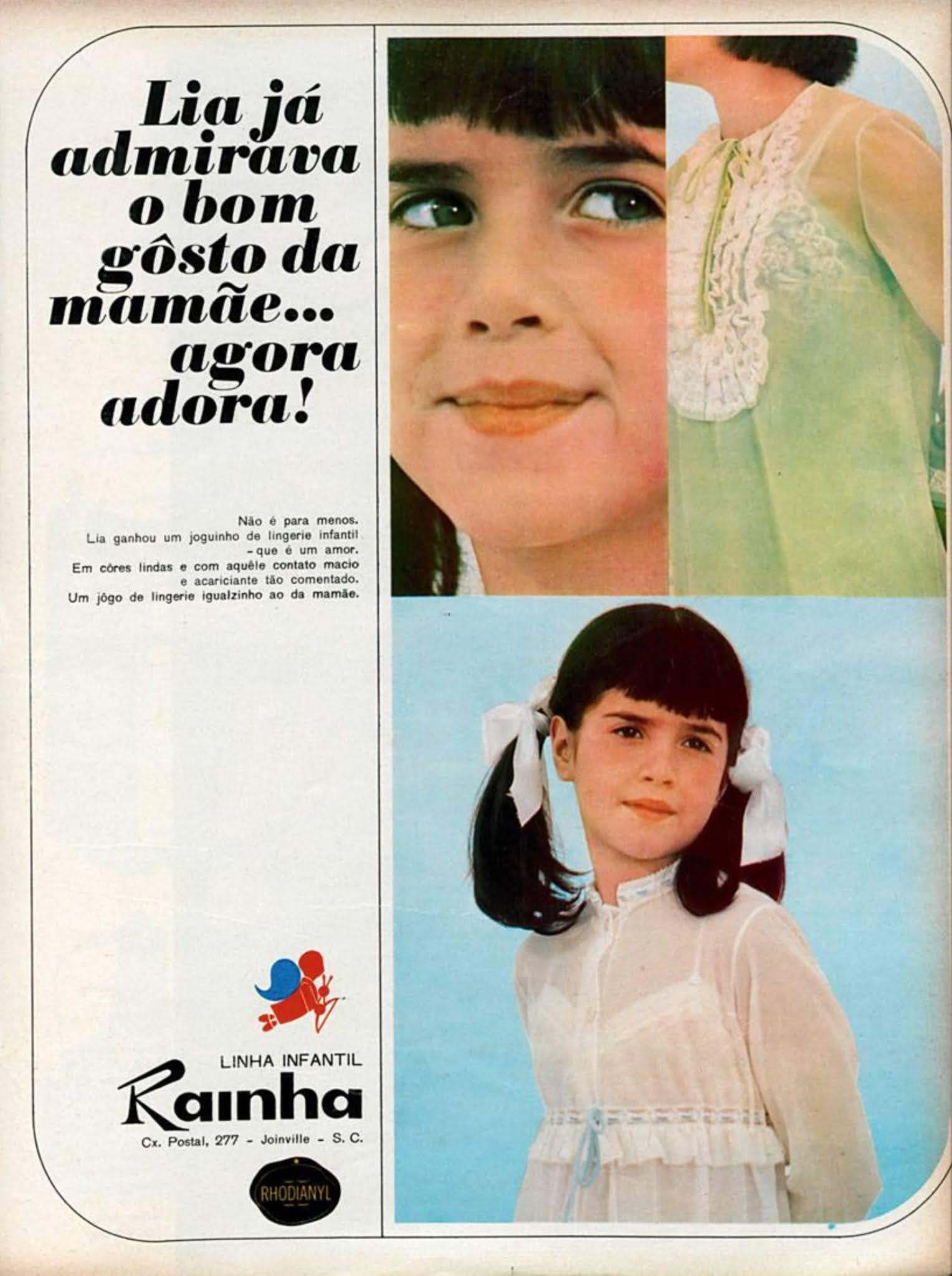 Anúncio de 1968 promovia a linha de lingerie infantil da Rhodianyl