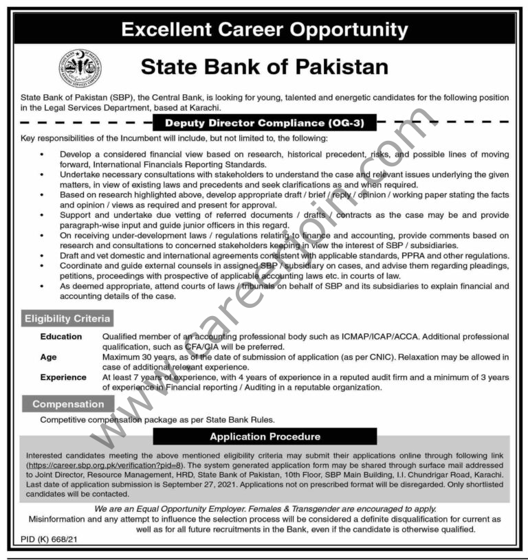 Jobs in State Bank of Pakistan SBP