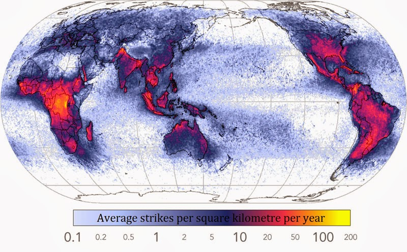 40 Maps That Will Help You Make Sense of the World - Frequency of Lightning Strikes Throughout the World