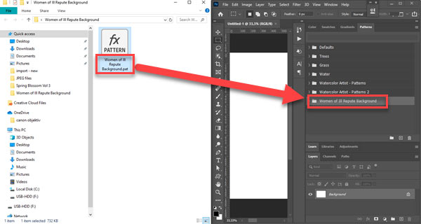 Import preset in Photoshop by double clicking on preset file