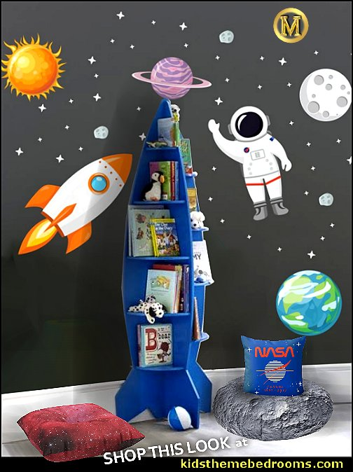 Rocket Shaped Bookshelf Nebula Floor Pillow  NASA moon floor pillow space bedrooms  over the moon outer space themed playroom galaxy bedrooms