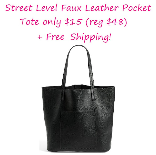 Street Level Faux Leather Pocket Tote only $15 (reg $48)