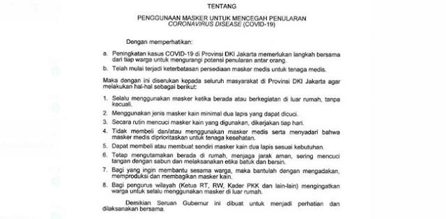 Stok Masker Medis Langka, Anies Serukan Seluruh Warga Jakarta Gunakan Masker Kain
