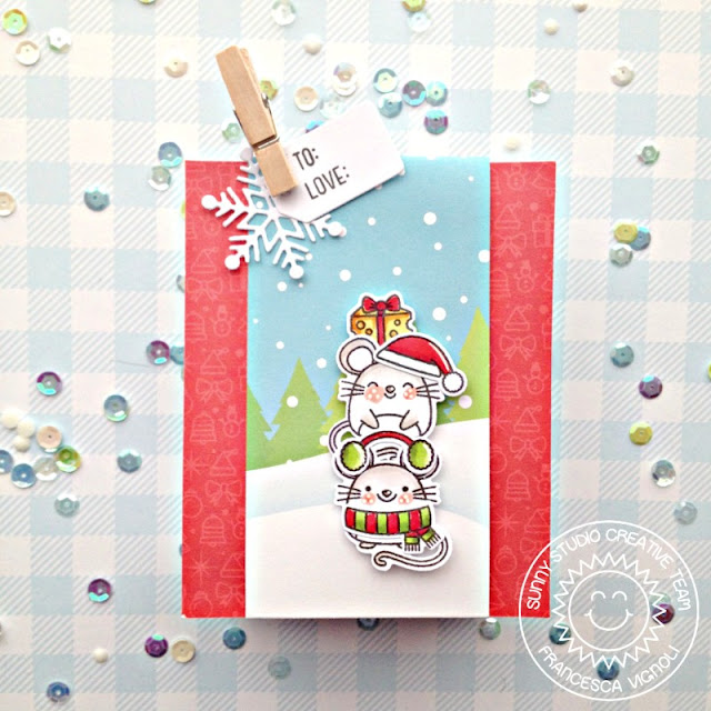 Sunny Studio Stamps: Sweet Treat Gift Bag Merry Mice Circle Snowflake Frame Dies Christmas Treat Bag by Franci Vignoli