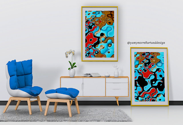colorful-blue--and-brown-abstract-art-set-by-yamy-morrell