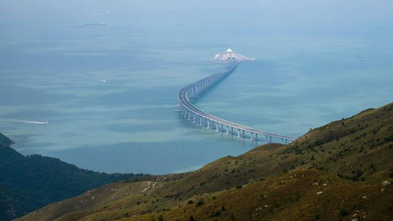 The Hong Kong-Zhuhai-Macao Bridge, it takes only 30 minutes by car from Hong Kong to Zhuhai Macau.