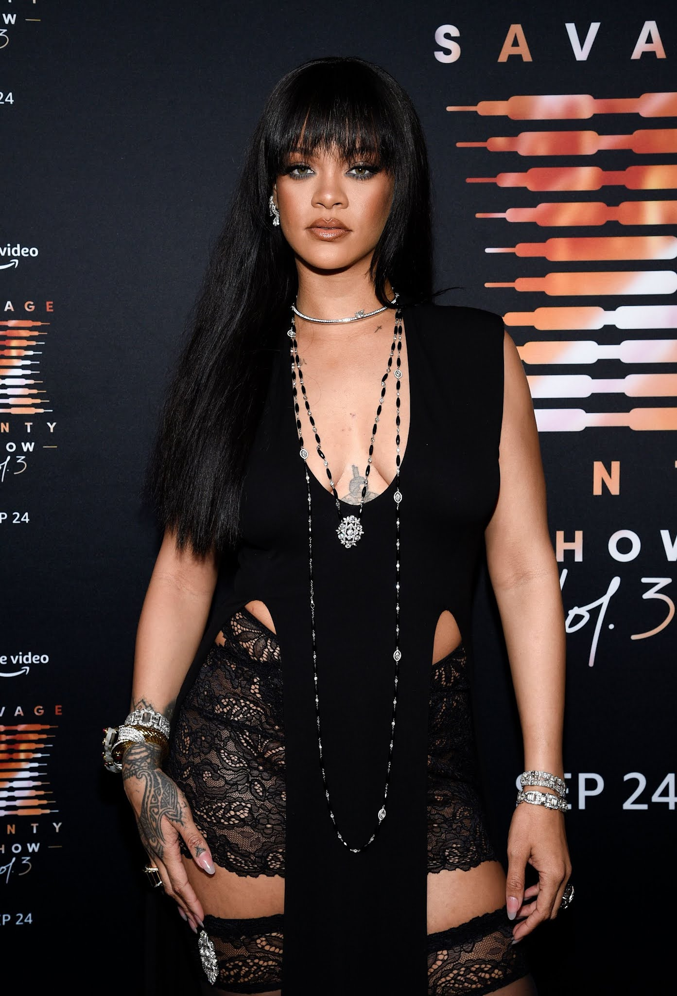 Rihanna arrives in lace shorts at the Savage x Fenty Vol 3 Premiere in NYC