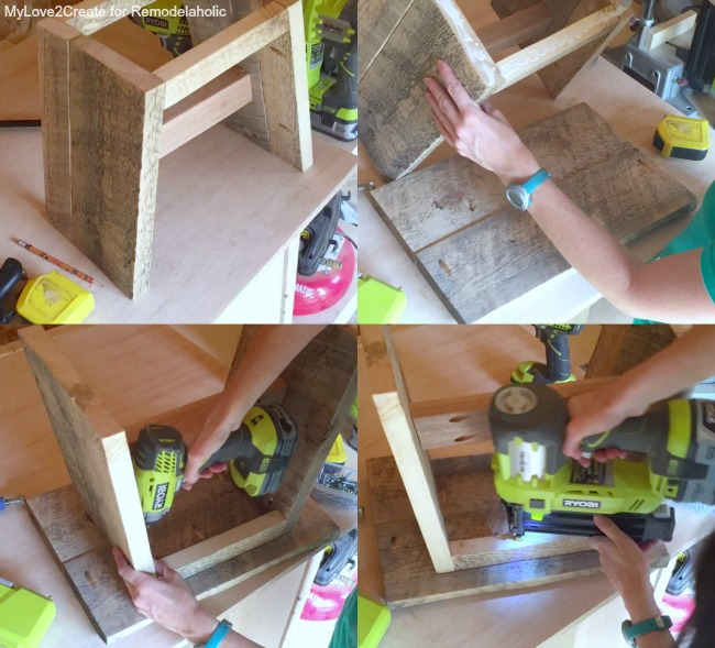 Attaching top to base of stool