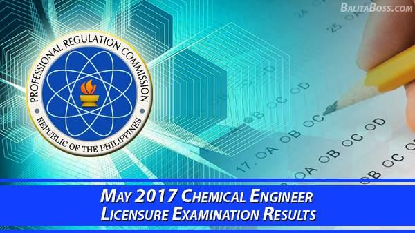 Chemical Engineer May 2017 Board Exam