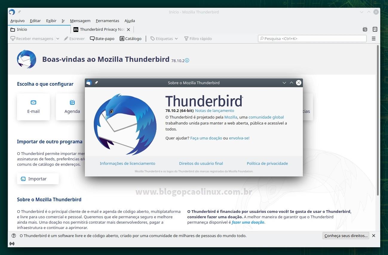 Mozilla Thunderbird executando no openSUSE Leap 15.3