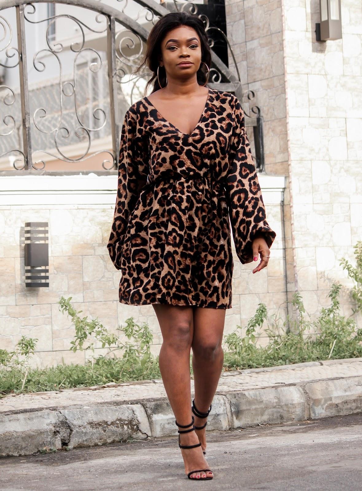 LEOPARD PRINT DRESS - Leopard Print Dress by Porshher and black sandals from Public Desire