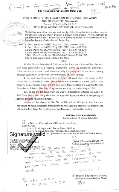 MDM - Instructions to the cooking agencies arrange the Red gram Dal locally ,Rc.27