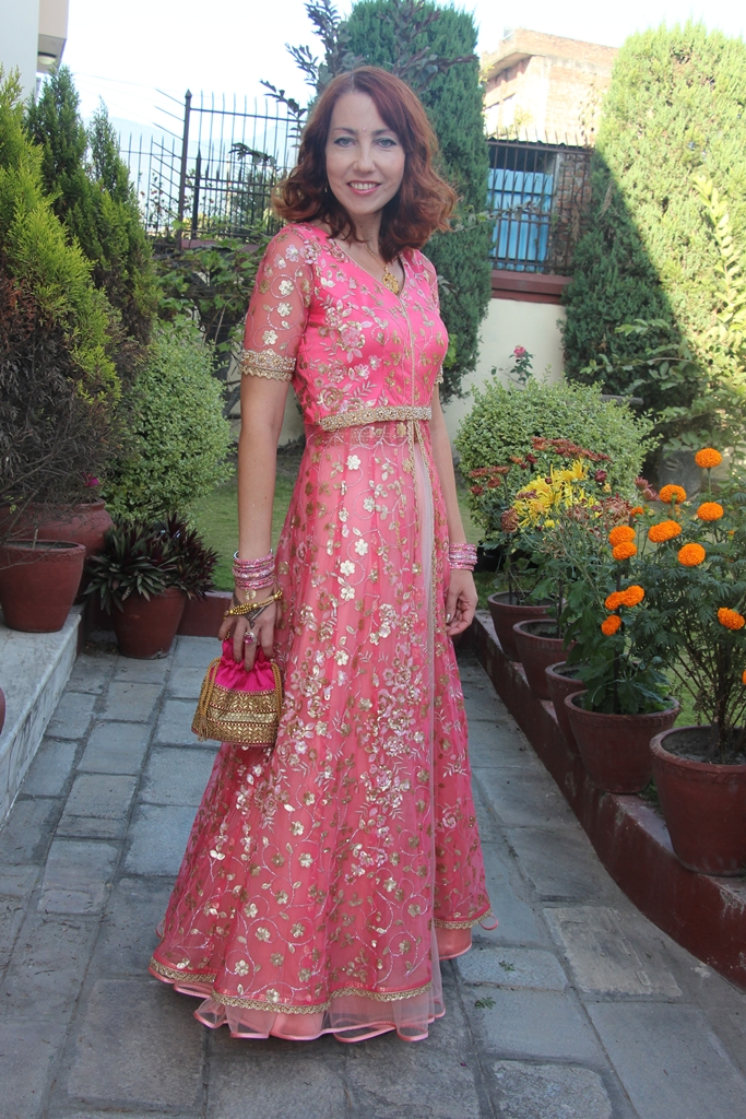 Indian party outfit, skirt with long jacket over it in pink