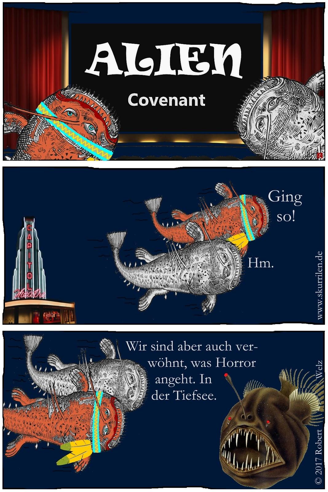 komisch Webcomic Grusel Horror Film Alien Covenant Seeungeheuer Anglerfisch Satire Humor Tiefsee