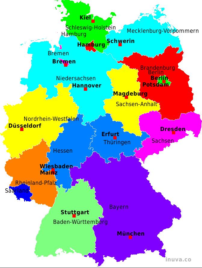 karte bundesländer deutschland mit städten Kannst du Deutsch?: Lektion 1: Die deutschen Bundesländer