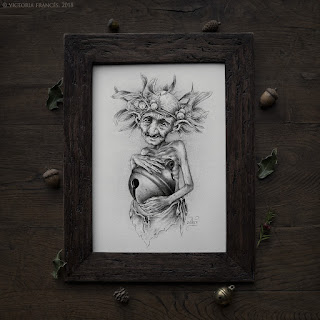 The Elemental Spirit of the Mistletoe, Pencil Drawing by Victoria Francés