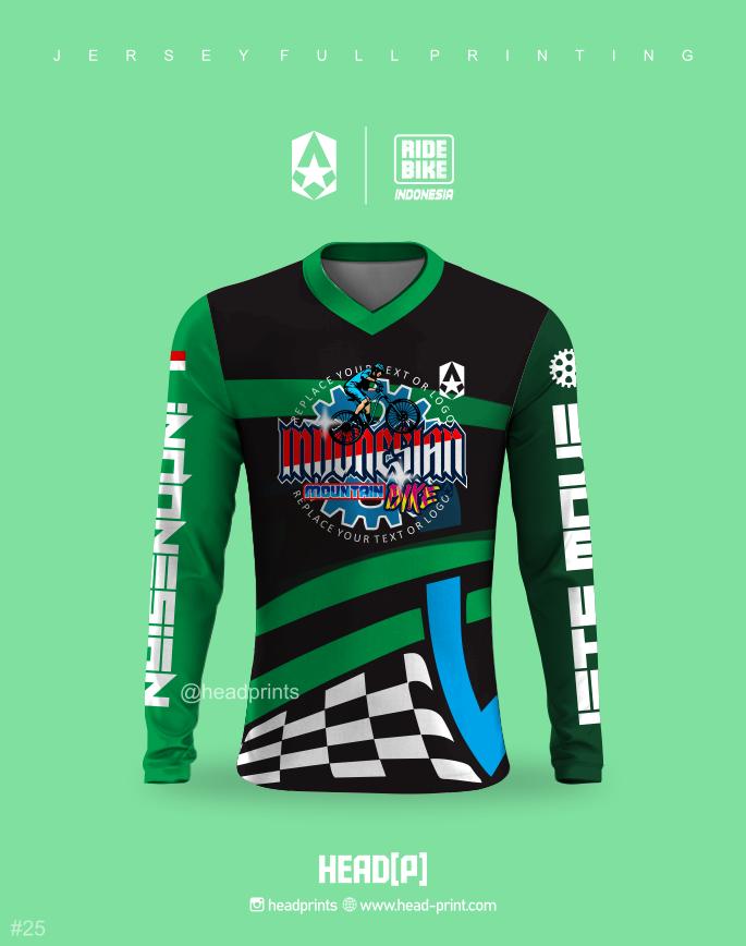 Hitam Hijau Ride Bike Jersey Sepeda MTB Full Printing - Jersey Gowes Full Printing Custom