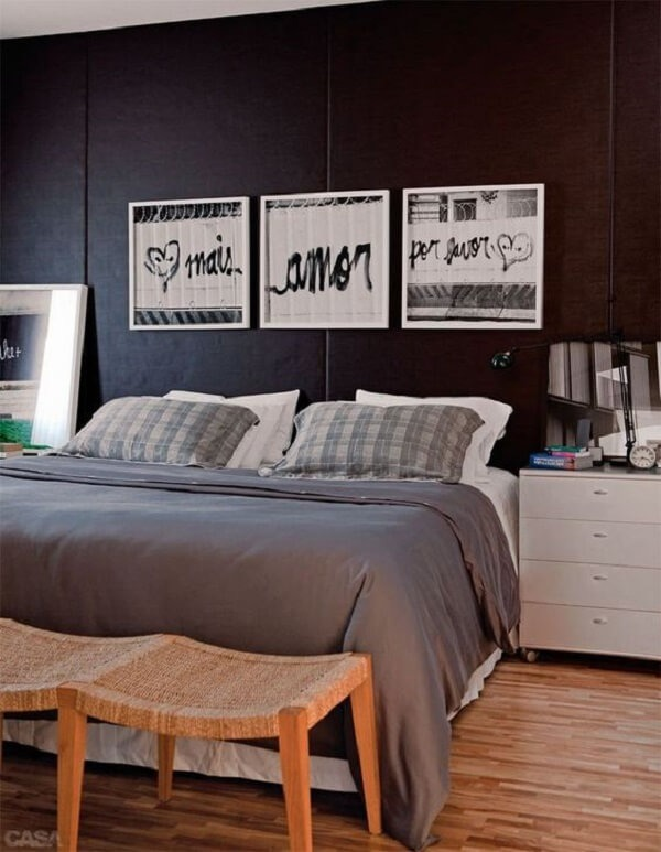 Double room with wooden floor and boxed widow's bed