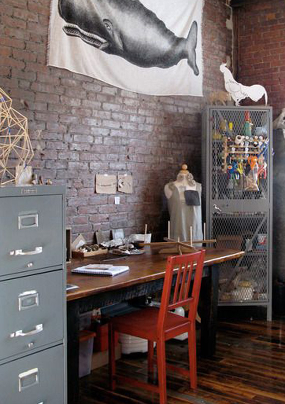 brick walls, vintage retro style work space
