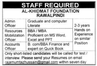 Latest Jobs Rwp Al Khidmat Foundation May 2021