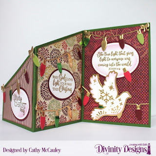Stamps: True Light Paper Collection: Christmas 2015, Christmas Coordinating 2015 Custom Dies: Z Fold with Layers, Ovals, Double Stitched Ovals, Christmas Lights, Christmas Dove