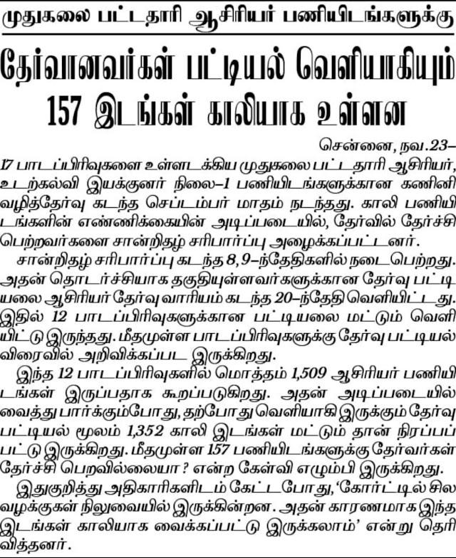 PGTRB - 157 இடங்கள் காலி ஏன்? ஆசிரியர் தேர்வு வாரியம் விளக்கம்!