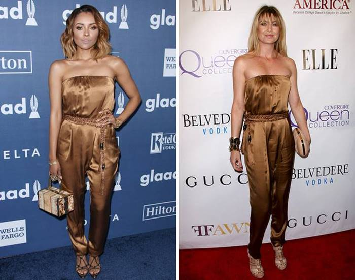 Gucci silk jumpsuit conquered more than one fashionista: Katerina Graham put on him with platform sandals and a handbag , and Ellen Pompeo with beige sandals on the straps , a clutch in tone and a large bracelet. So the stars beat the same outfits in 2016.