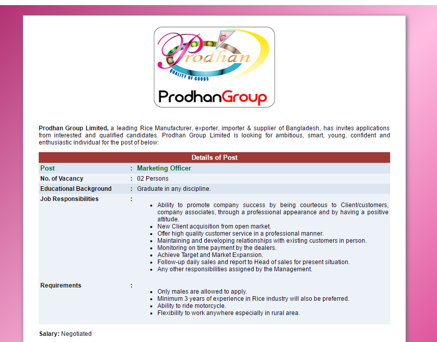 Prodhan Group Limited - Position: Marketing Officer - Jobs