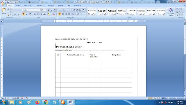 Contoh Format Daftar LKS (Job-sheet) Terbaru