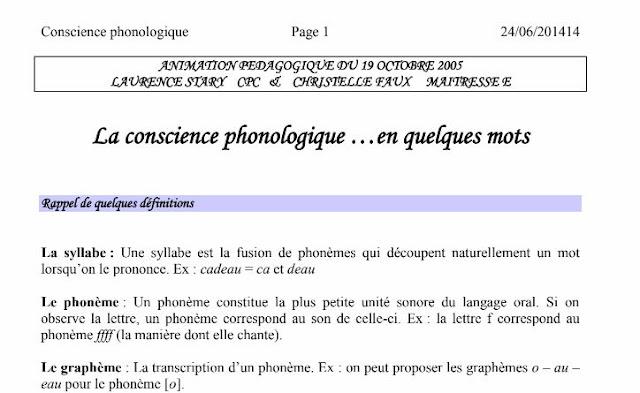la conscience phonologique à partir de la petite section