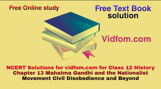 NCERT Solutions for vidfom.com for Class 12 History Chapter 13 Mahatma Gandhi and the Nationalist Movement Civil Disobedience and Beyond