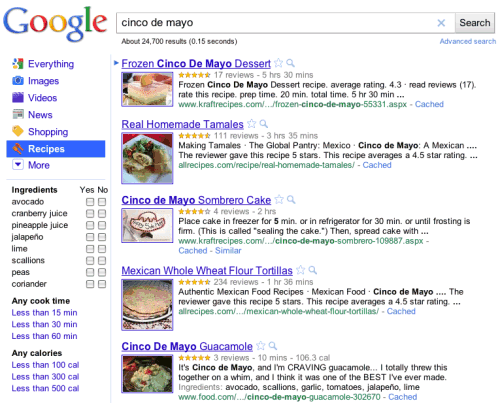 Google recipe search recipe search is one of the most obscure specialized search engines offered by google and its quite surprising to see it in the vertical navigation menu forumfinder Gallery