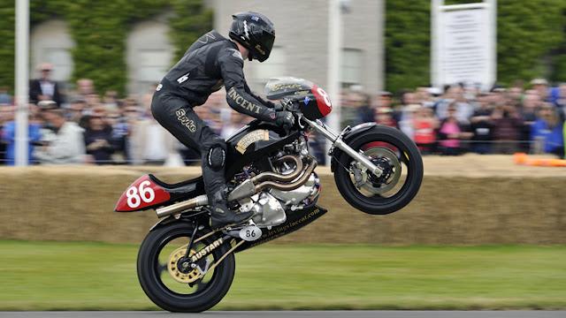 Irving Vincent Motorcycle Wheelie Goodwood