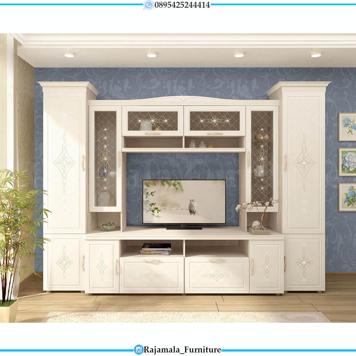 Harga Set Meja TV Minimalis Putih Jepara Luxury Classic RM-0659