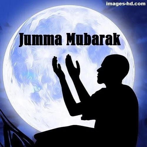 man doing dua with full moon as Jumma Mubarak DP