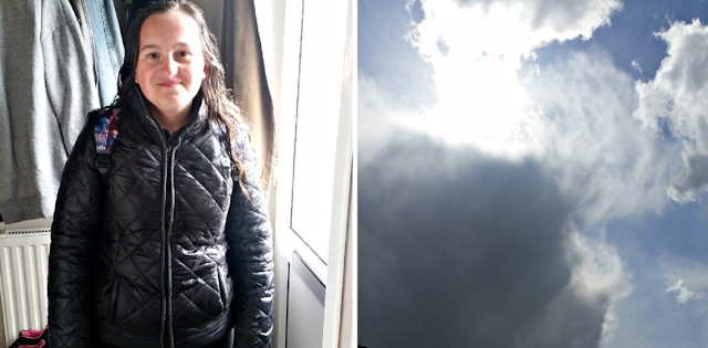 My youngest in from school and a moody looking sky