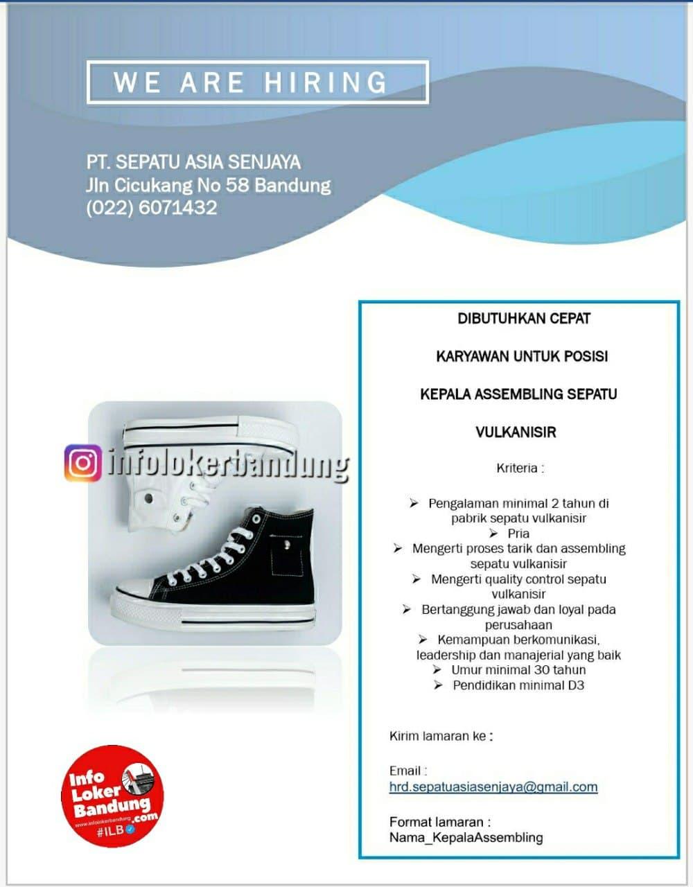 Lowongan Kerja PT. Sepatu Asia Senjaya Bandung Desember 2020