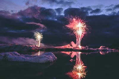 Les feux d'artifice à Jökulsárlón
