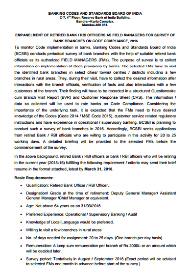 Empanelment Of Retired Bank Rbi Officers As Field Managers For