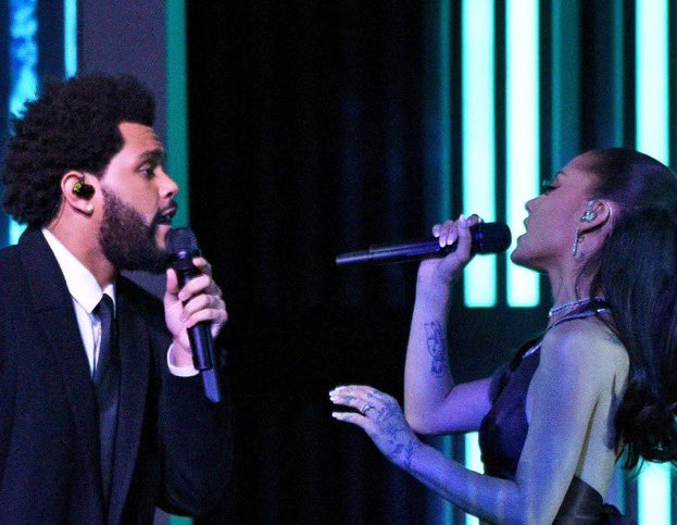 """Ariana Grande joined The Weeknd for a rendition of the pair's hit single """"Save Your Tears"""" at the 2021 iHeartRadio Music Awards."""