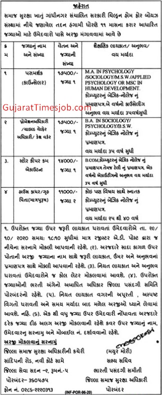 Social Security Department Gandhinagar Recruitment 2020
