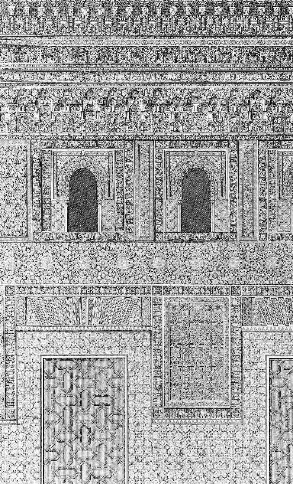 old ornamented walls from the Alhambra palace in Spain illustrated
