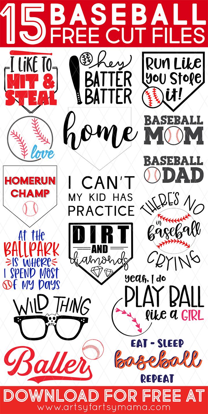 15 Free Baseball Cut Files #TotallyFreeSVG