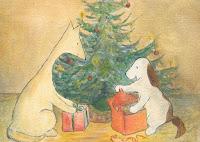 Postcard illustration of Hulmu Hukka and Haukku Spaniel opening Christmas presents at front of a Christmas tree