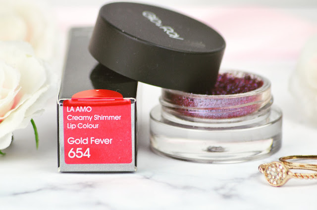 Glo & Ray Space New Product Review - Gold Fever La Amo Lipstick and Space Pigment Glitter Eyeshadows