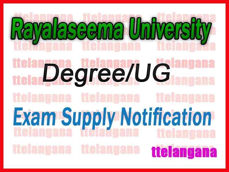 Rayalaseema University Degree 1st 2nd 3rd year Supply Notification