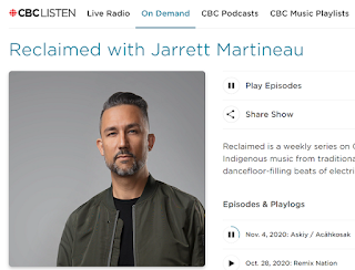 Screenshot of CBC.ca page for their Reclaim show featuring contemporary Indigenous music. Includes picture of host Jarrett Martineau